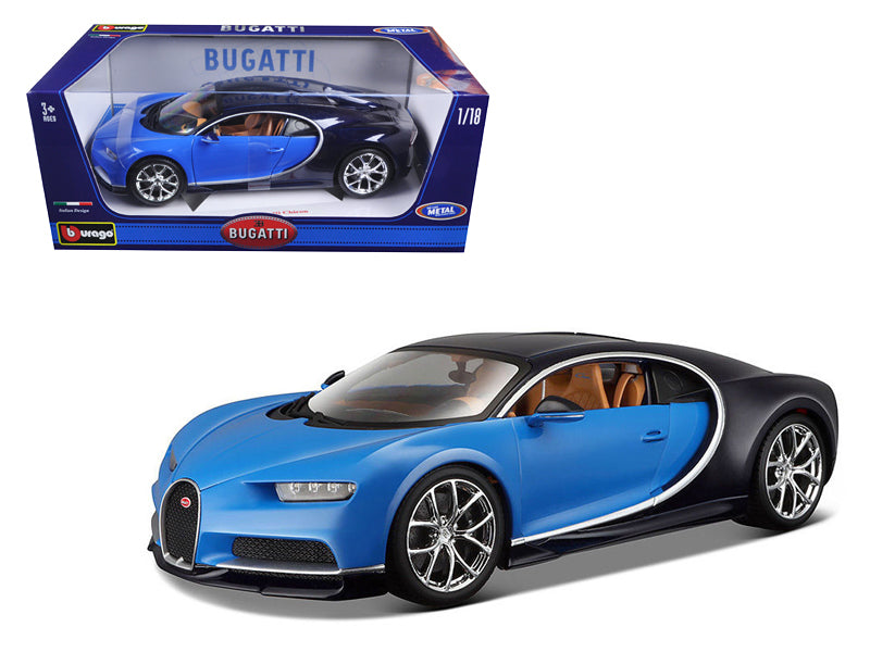 2016 Bugatti Chiron Blue 1/18 Diecast Model Car by Bburago | Allshop.store