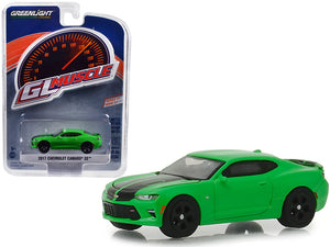 "2017 Chevrolet Camaro SS Krypton Green with Black Rally Stripes ""Greenlight Muscle"" Series 21 1/64 Diecast Model Car by Greenlight"