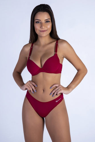 Red Butterfly Back Push-up Bra and Panty