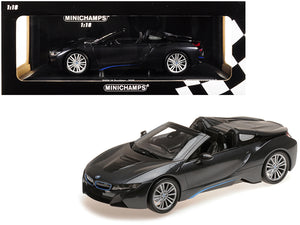 2018 BMW i8 Roadster Dark Gray Metallic Limited Edition to 504 pieces Worldwide 1/18 Diecast Model Car by Minichamps