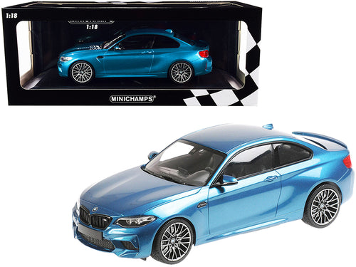 2019 BMW M2 Competition Light Blue Metallic Limited Edition to 504 pieces Worldwide 1/18 Diecast Model Car by Minichamps