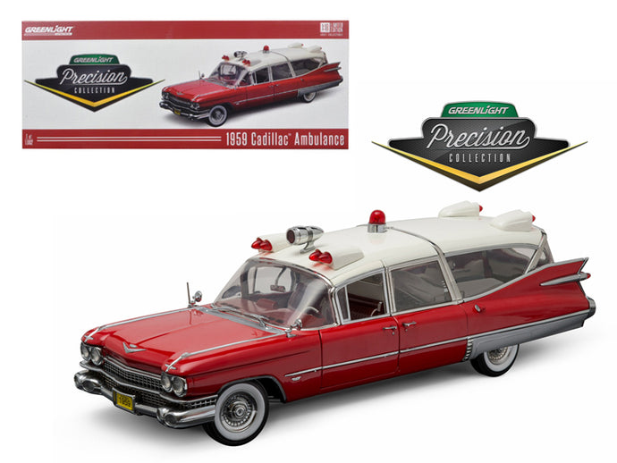 1959 Cadillac Ambulance Red and White Precision Collection 1/18 Diecast Model Car by Greenlight | Allshop.store