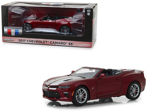 2017 Chevrolet Camaro SS Convertible Garnet Red Tintcoat with Silver Stripes 1/24 Diecast Model Car by Greenlight
