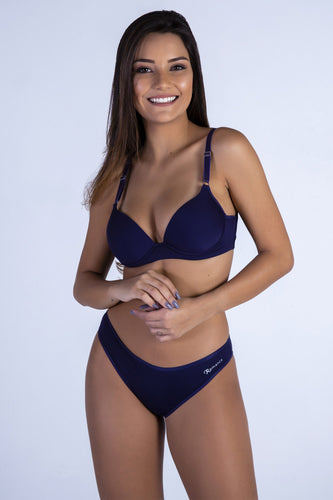 Navy Butterfly Back Push-up Bra and Panty