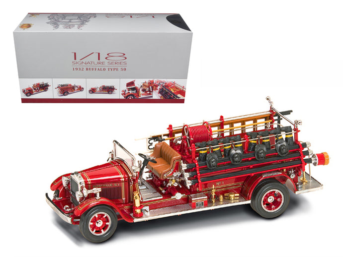1932 Buffalo Type 50 Fire Truck Red with Accessories 1/24 Diecast Model by Road Signature | Allshop.store