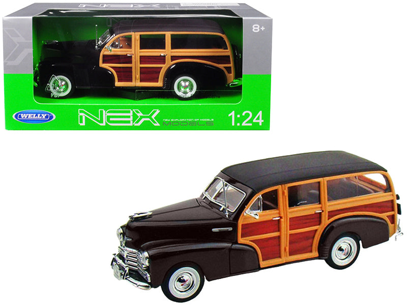 1948 Chevrolet Woody Fleetmaster Dark Brown 1/24 Diecast Model Car by Welly