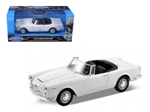 1960 Alfa Romeo Spider 2600 Convertible White 1/24 Diecast Car Model by Welly | Allshop.store