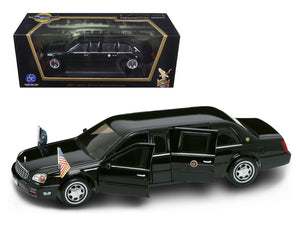2001 Cadillac Deville Presidential Limousine Black with Flags 1/24 Diecast Car Model by Road Signature | Allshop.store