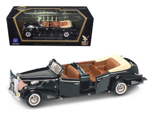 1938 Cadillac V-16 Roosevelt Limousine with Flags 1/24 Diecast Car Model by Road Signature | Allshop.store