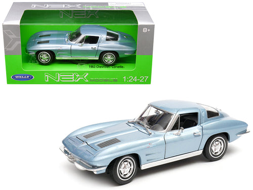 1963 Chevrolet Corvette Metallic Light Blue 1/24 - 1/27 Diecast Model Car by Welly | Allshop.store