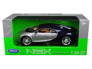Bugatti Chiron Silver / Blue 1/24 - 1/27 Diecast Model Car by Welly | Allshop.store