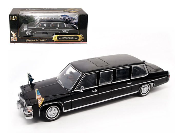 1983 Cadillac Fleetwood Presidential Limousine With Flags 1/24 Diecast Car Model by Road Signature | Allshop.store