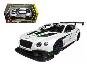 Bentley Continental GT3 White #7 1/24 Diecast Model Car by Bburago | Allshop.store