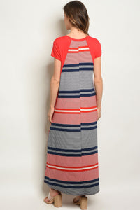 Red Navy Stripes Dress