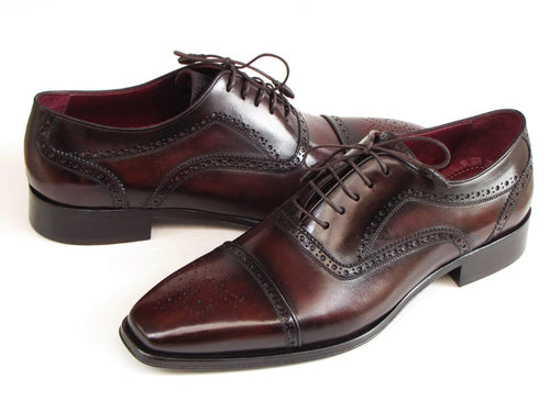 Paul Parkman Men's Captoe Oxfords Bordeaux & Brown  (ID#024-BRWBRD)