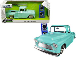 "1955 Chevrolet Stepside Pickup Truck Light Turquoise with Extra Wheels ""Just Trucks"" Series 1/24 Diecast Model by Jada 