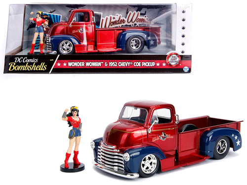 1952 Chevrolet COE Pickup Truck Red and Blue with Wonder Woman Diecast Figure