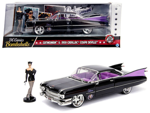 1959 Cadillac Coupe DeVille Black with Catwoman Diecast Figure