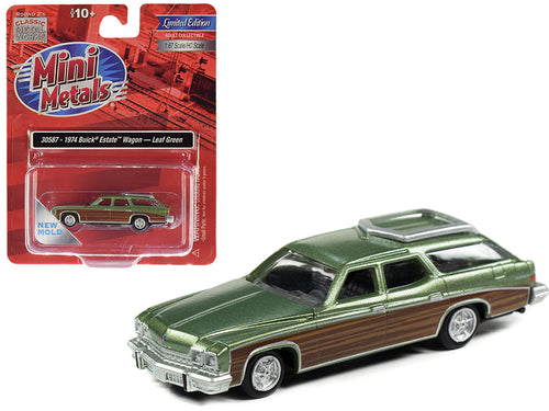 1974 Buick Estate Wagon Leaf Green Metallic with Woodgrain Sides 1/87 (HO) Scale Model Car by Classic Metal Works