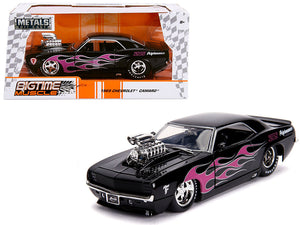 "1969 Chevrolet Camaro with Blower Black and Pink Flames ""Bigtime Muscle"" Series 1/24 Diecast Model Car by Jada 