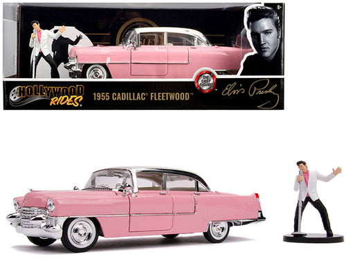 1955 Cadillac Fleetwood Series 60 Pink with Elvis Presley Diecast Figurine 1/24 Diecast Model Car by Jada
