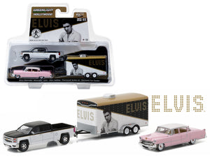 "2015 Chevrolet Silverado 1500 and 1955 Cadillac Fleetwood Series 60 ""Pink Cadillac"" Elvis Presley (1935-77) in Enclosed Car Hauler 1/64 Diecast Model Cars by Greenlight 