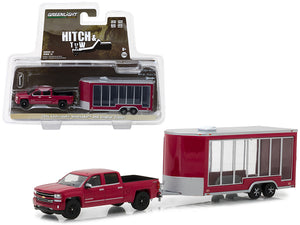 2016 Chevrolet Silverado Pickup Truck Red and Display Trailer Hitch & Tow Series 12 1/64 Diecast Car Model by Greenlight
