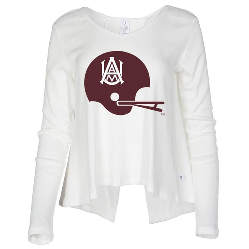 NCAA Alabama A&M Bulldogs PPAMU04 Women's Ribbed Open Back Long Sleeve V- Neck