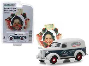 "1939 Chevrolet Panel Truck Blue and White ""Ridgewood Dental Clinic"" Mobile Office ""Norman Rockwell Delivery Vehicles"" Series 1 1/64 Diecast Model Car by Greenlight 