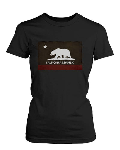 Graphic Statement Womens Black T-Shirt - California Republic Flag