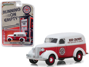 "1939 Chevrolet Panel Truck ""Red Crown Gasoline"" Red with White Top ""Running on Empty"" Series 6 1/64 Diecast Model Car by Greenlight 