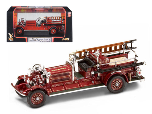 1925 Ahrens Fox N-S-4 Fire Engine Red 1/43 Diecast Car Model by Road Signature | Allshop.store