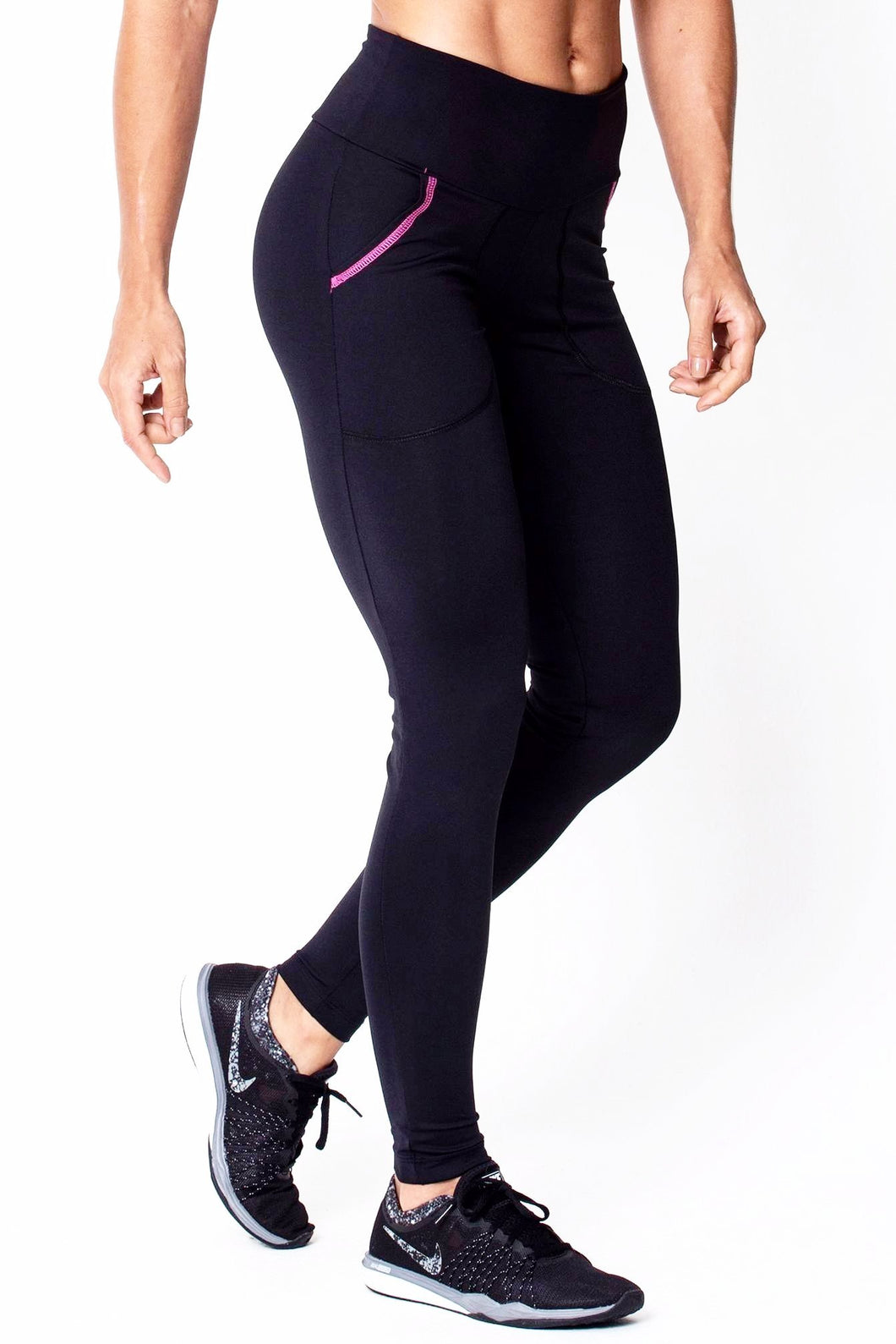 Black With Pink Pocket Leggings