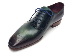 Paul Parkman Green & Purple Handmade Oxfords (ID#OPK215C)