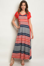 Load image into Gallery viewer, Red Navy Stripes Dress