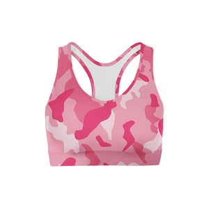 Pink Camo Back Color Sports Bra
