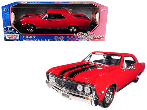 1967 Chevrolet Chevelle SS 396 Red with Black Stripes 1/18 Diecast Model Car by Motormax