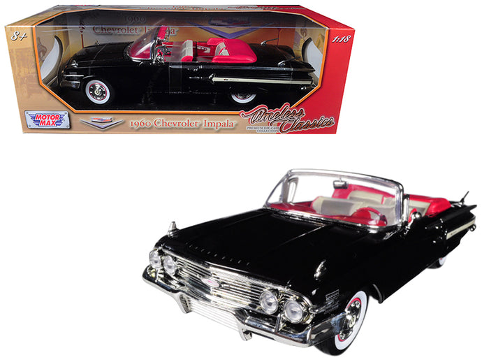 1960 Chevrolet Impala Convertible Black 1/18 Diecast Car Model by Motormax