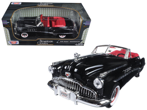 1949 Buick Roadmaster Black with Red Interior 1/18 Diecast Model Car by Motormax