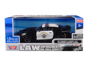 "2017 Chevrolet Camaro ZL1 California Highway Patrol (CHP) Black and White ""Law Enforcement and Public Service"" Series 1/24 Diecast Model Car by Motormax 