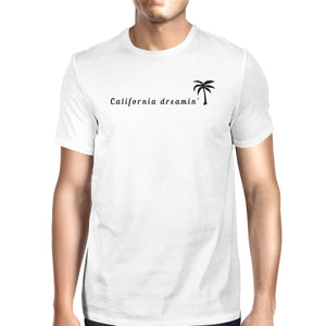 California Dreaming Mens White T-Shirt Lightweight Summer Shirt