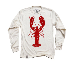 Red Lobster: Organic Fine Jersey Long Sleeve T-Shirt in Unbleached Natural