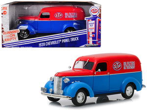 "1939 Chevrolet Panel Truck ""STP"" Blue with Red Top Running on Empty Series 1/24 Diecast Model Car by Greenlight 
