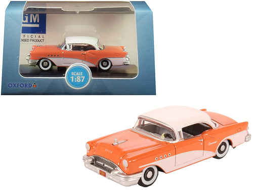 1955 Buick Century Coral and Polo White 1/87 (HO) Scale Diecast Model Car by Oxford Diecast