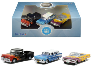 Chevrolet Hot Rods Set of 3 pieces 1/87 (HO) Scale Diecast Model Cars by Oxford Diecast