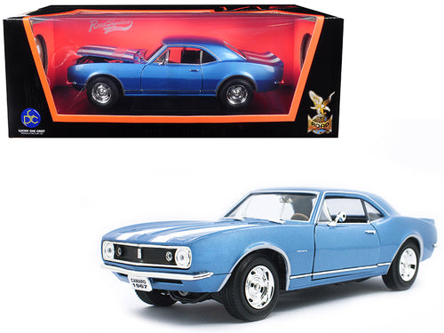 1967 Chevrolet Camaro Z/28 Metallic Blue with White Stripes 1/18 Diecast Model Car by Road Signature | Allshop.store