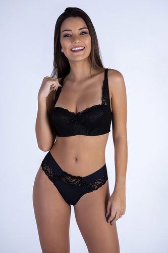 Black Sweetheart Push-up Bra and Thong