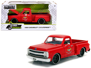 "1969 Chevrolet C10 Stepside Pickup Truck Matt Red ""Garage Nuts"" ""Just Trucks"" Series 1/24 Diecast Model Car by Jada 