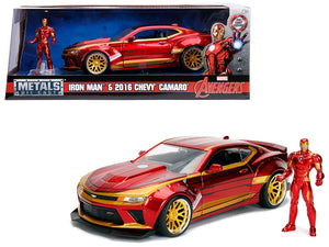 "2016 Chevrolet Camaro with Iron Man Diecast Figure ""Marvel"" Series 1/24 Diecast Model Car by Jada 