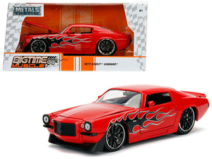 1971 Chevrolet Camaro SS Red with Flames 1/24 Diecast Model Car by Jada